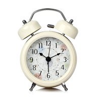 Wholesale Beige New Arts Style Battery Backup Bedroom Desk Table Double Bell Alarm Clock hot01