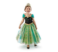 TuTu Winter A-Line Wholesale 2014 hot movies Frozren costumes princess Anne Elas dress girls long pary dresses for 3-10 years old baby girls clothes kids wear