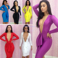 Casual Dresses Round Mini Dropshipping cheap price 2014 new fashion Deep V neck Black sexy Bandage Dress Long Sleeve Bodycon Club Dresses B003 17649