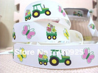 Wholesale 1071473611 david ribbon Farming tractor white ribbon hairbows printed ribbon freeshipping minimum order USD