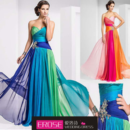 Wholesale A Line Sweetheart Floor Length Beaded Four Colors Mix Amazing In Stock Occasion Dresses Cheap
