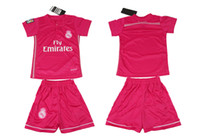 Wholesale 2014 Reals Madrid Away Pink Kids Soccer Jerseys Top Quality Youth Soccer Uniforms Childrens Football Kits Hot Sales Outdoor Jersey Wear