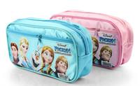 Fabric Pencil Bag Blue 10pcs lot Frozen princess Elsa anna Pencil case Bag NEW Children Girl's Cartoon Fashion Pencil Bag