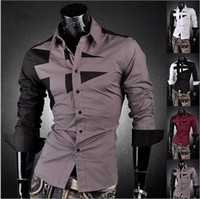 Wholesale NEW Mens Fashion Cotton Designer Cross Line Slim Fit Dress man Shirts Tops Western Casual M L XL XXL XXXL mjc167