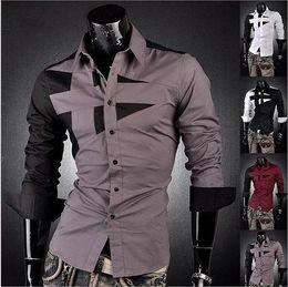 Wholesale Slim Fit Designer Shirts Men - Wholesale - NEW Mens Fashion Cotton Designer Cross Line Slim Fit Dress man Shirts Tops Western Casual M L XL XXL XXXL mjc167