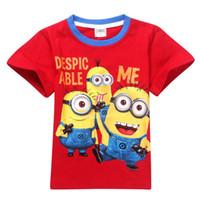 Unisex Summer Baby Wholesalefree shipping2014 summer girls cute clothes kid T-shirt cotton Minions children t-Shirt kid Short-Sleeve character boys tee shirt