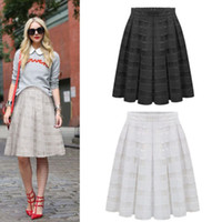 Wholesale Details about Vogue Women Double Layer Pleated Retro Maxi Dress Plaid high Waist Skirt