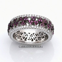 Wholesale 2015 New Design Carraton Solid Silver Vintage Rings Double Color Ruby Stones Top AAA CZ Diamonds Ring Pure Silver ring RSCH7036