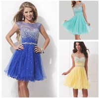 Wholesale Lovely Scoop Hollow tulle in Back Sleeveless Ball Gown Short Mini Formal Cocktail Prom Party Homecoming Dresses