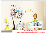 Wholesale 10 sets Owl Wall Sticker for Kids Rooms Decoration Giraffe Anime Poster Tree Baby Wall Stickers Decals Home Decor Zebra Wallpaper Kid