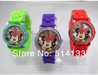 Wholesale MINNIE Mickey Mouse Hollow Watch Korean Style Princess Watch Leather Casual Women Watch Students Watch