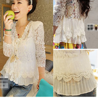 V-Neck bell cover - Sexy Women s White Lace Blouses Cotton Jacquard with Shoulder Pad Lace Cover up Blouse Ladies Hot Selling New Fashion Blouse Lace Tops