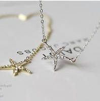 Wholesale One Dollar Item All match Full Rhinestone Starfish Pendant Necklace Clavicle Chain Fashion Jewelry for Woman