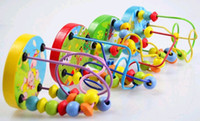Wholesale 2016 Summer Baby wooden Mini around beads Wire maze Colorful Educational game Beach Children Toys