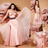 Cheap 2014 New Arrival Stain Chiffon Sweetheart Sexy Bien Suvvy Evening Dresses Strapless Peplum Belt Floor-Length Bridal Prom Celebrity Gowns