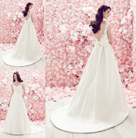 A-Line Reference Images V-Neck A Line Bridal Gown 2014 Skirt With Flat Front Pleated Back Side Pockets V Neck Lace Capped Sleeveless Low Back