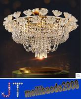 Dia 60см * H45cm Керамика Роза K9 Crystal потолочное освещение Современные светодиодные моды Роскошные хрустальные люстры Столовая Освещение Освещение HSA143