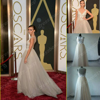 Wholesale 2014 The th Oscars Awards giuliana rancic Sheer Crew Neck Backless Tulle A Line Sweep Train Vintage Celebrity Red Carpet Evening Dresses