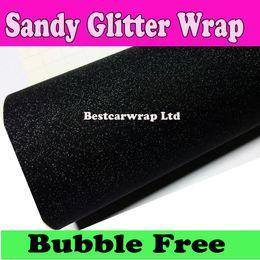3m quality Black Sandy Glitter Vinyl Car wrap sparkle Film With Air Free Fedex Free Shipping 1.52x30m Roll Free Shipping