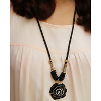Pendant Necklaces Women Alloy Recommended roses sexy big diamond flower pendant long sweater chain pendant wholesale