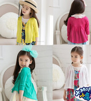 Wholesale free shpping new girls Air conditioning unlined upper garment of the Pure color v neck Children s Long sleeve shirt