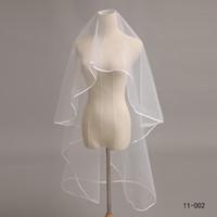 Wholesale Hot Sale Layer Ivory Satin Ribbon Edge Accessories Women s Veils Bridal Tulle comb Bridal Veil
