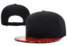 Wholesale Hottest Brand Snapback Hats New Jordans Snap Back Zebra Brim Caps Black Cool Sports Caps Embroidered Logo in Front Allow Mix Order
