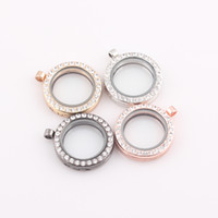 Charms Traditional Charm Circle 30mm Round magnetic glass floating charm locket crystal Rhinestone Locket Pendant Free shipping Wholesale ZBE259
