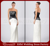 Sash red and black bridesmaid dresses - Black and White Bridesmaid Dresses New Style Strapless Column Floor Length Black Lace and White Satin Evening Gowns