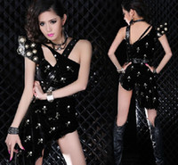 Wholesale 2014 Luxury Flying Shoulder Shrug Cool Cross Sexy Jumpsuits DJ Lead Dancer Party Girl DS Costumes Hip Hop Jazz Nightclubs Stage Wear