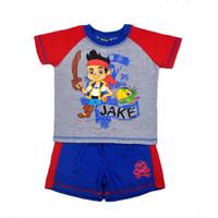 Cheap 4 sets lot 2014 New Arrival Boys Summer Clothing Set Jake Capital Cartoon 2 Pcs Set Kids Clothing Set In Stock Items