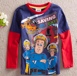 Wholesale Fireman Sam Saving The Day cotton Boys Long Sleeve T shirts Kids baby clothes shirt spring autumn wear