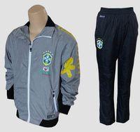 Wholesale 2014 Brazilian World Cup Soccer Track Suit Brasil Sweat Suit Men Sports Set Grey Soccer Jackets and Black Football Pants Training Suit