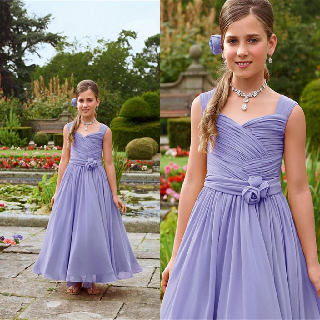 Buy 2016 Lavender Ruched Handmade Flower Long Chiffon Girls Dresses Princess Girl Dress