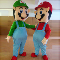 Wholesale Adult Super Mario Luigi Mascot Costume Fancy Dress Party Clothing Halloween Costume pieces