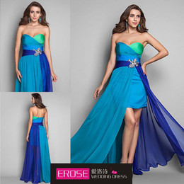 Wholesale Blue Green A Line Sweetheart Floor Length Beaded Hi Lo Attractive In Stock Occasion Dresses Evening Dress Prom Gown