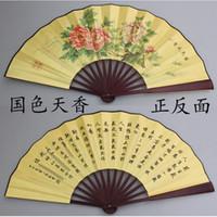 handcraft decorative fans - Large China Silk Fan Men s Printed Hand Fan Decorative Folding Fans Dance Fan Wedding Favor Fan Measures cm
