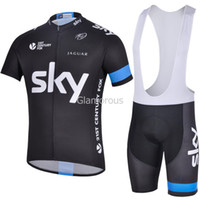 Short Anti Bacterial Men 2014 Tour de France Rapha Team Sky Stylish Cycling Jersey Set Breathable Black Tops and Bib Shorts Lycra Polyester Sky Logo Clothes for Men