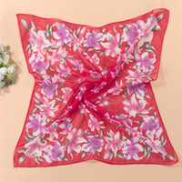 Cheap Hot Sale Women New Arrival 2014 Large Floral Print Faux Satin Silk Chiffon Scarf Square 60x60cm High Quality Hijab Scarves