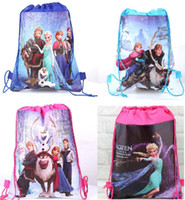 Wholesale Popular Frozen Backpacks Drawstring School Bags Girls Boys Beach Handbags Non Woven Children s Shopping Bags