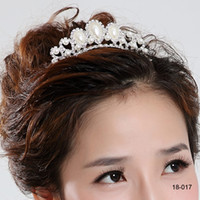 Wholesale 2014 New Fashion mutation Pearl Rhinestone inlay Crown Tiara Wedding Bride s Hair Comb Cheap on Sale