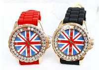 Dress wach - UK Flag Wach Reloj New Fashion Women Men s Diamonds Quartz Clock Casual Silicon Watch With Rhinestones