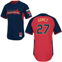 Baseball Men Short MLB 2014 All Star Game Jerseys National #27 Gomez Stitched Baseball Jerseys for Men High Quality Team New Jersey Cheap Outdoor Apparel Sale
