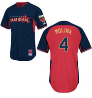 Baseball Men Short MLB 2014 All Star Jerseys National #4 Molina Embroidered Baseball Jerseys Highest Quality Cheap Team New Jersey Outdoor Sports Uniforms Kits