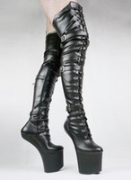 Wholesale New arrival women fashion boots leather Black Matt PU thigh high boots Unisex BDSM game play no heel fetish knee bondage boots