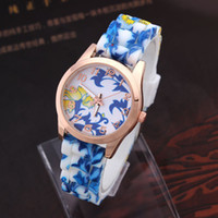 Wholesale 2014 colorful high quality Wristwatch Silicone Printed Flower Casual Watch For Ladies Quartz Watches Women Dress Watch New Promotions