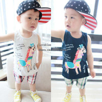 Wholesale Boy Suit Kids Sets Infant Outfits Toddler Clothing Baby Tank Tops Summer Shorts Linen Pants Children Set Kids Suit Outfits Boys Kids Clothes