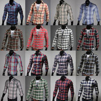 dress shirt for men - 2015 men s hot new arrival long sleeve plaid shirts for men turn down collar shirt fashion slim style Colors m173