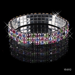 Wholesale Cheap High Quality Beautifui Row Multi stone Crystal Bangle Wedding Bracelets Bridal Jewelry