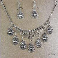 Jewelry Sets rhinestone bridal jewelry - Top Quality Elegant Wedding Bridal Prom Rhinestone Crystal Jewelry Necklace Earring Set